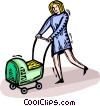 woman pushing a baby carriage Vector Clipart illustration