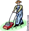 man cutting the lawn Vector Clipart image