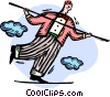 Businessman walking the tightrope Vector Clipart graphic