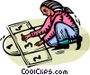 Vector Clipart graphic  of a girl playing hopscotch