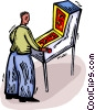 Vector Clip Art graphic  of a pinball player