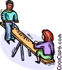 Vector Clipart graphic  of a kids on a teeter-totter