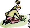 Vector Clipart picture  of a man planting flowers
