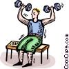 man doing weights Vector Clipart graphic
