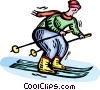 Vector Clip Art image  of a Person downhill skiing