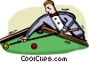 Vector Clip Art image  of a Pool player