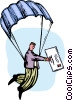 Man delivering the mail via a parachute Vector Clip Art graphic