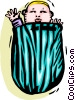 Vector Clipart graphic  of a baby in a bag