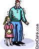 Vector Clip Art graphic  of a father and daughter