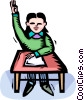 Vector Clip Art graphic  of a student raising his hand