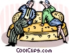 couple on the couch talking on the phone Vector Clipart graphic