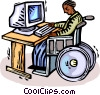 Vector Clipart graphic  of a working at the computer