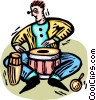Vector Clip Art graphic  of a bongo players
