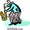 Vector Clipart graphic  of a saxophone player