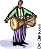 Vector Clip Art image  of a bongo player