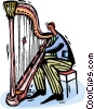 Vector Clip Art picture  of a harpist