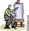 Vector Clipart graphic  of an Artist painting on canvass