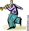 Vector Clip Art graphic  of a trumpet player