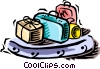 Vector Clip Art graphic  of a luggage on a carousel
