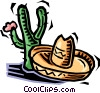 Vector Clipart picture  of a cactus and a sombrero