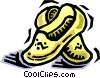 Vector Clip Art graphic  of a wooden shoes