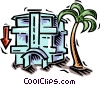 hotel and palm tree Vector Clip Art graphic