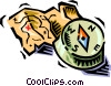 map and compass Vector Clipart illustration