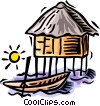 Vector Clipart graphic  of a huts