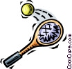 Vector Clip Art graphic  of a tennis racket and ball