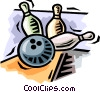 Vector Clip Art picture  of a Bowling ball and pins