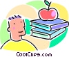 boy, school books and an apple Vector Clipart image