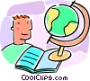 boy, globe and school book Vector Clipart image