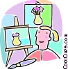 Vector Clipart illustration  of a student in art class