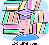 Vector Clip Art picture  of a student with a graduation cap