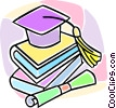 Vector Clipart image  of a graduation cap and school