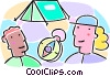 campers with a tent and a compass Vector Clipart picture