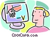 Vector Clip Art image  of a student looking at a computer