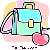 Vector Clipart illustration  of a school bag and an apple