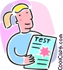 Vector Clip Art graphic  of a student with a test