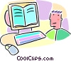 Vector Clip Art graphic  of a Boy with computer