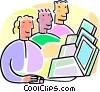 students working at computers Vector Clipart illustration