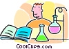 Vector Clip Art graphic  of a student in chemistry class