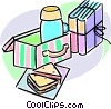 lunch and school books Vector Clip Art image