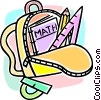 knapsack and math books Vector Clipart image