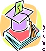 graduation cap and school book Vector Clipart graphic