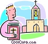 man holding a Bible looking at a church Vector Clipart picture