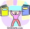 Vector Clipart illustration  of a person lifting school books