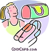 Vector Clip Art graphic  of a ballet shoes and ballerina