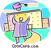Vector Clip Art graphic  of a graduate throwing their hat in