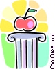 Vector Clipart graphic  of an apple on a pedestal